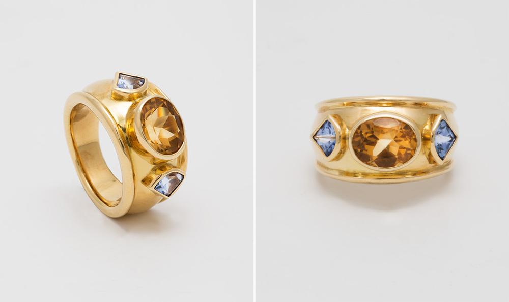Citrine & Sapphire Ring