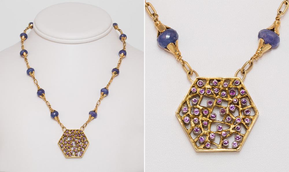 Pink Sapphire & Tanzanite Pendant Necklace