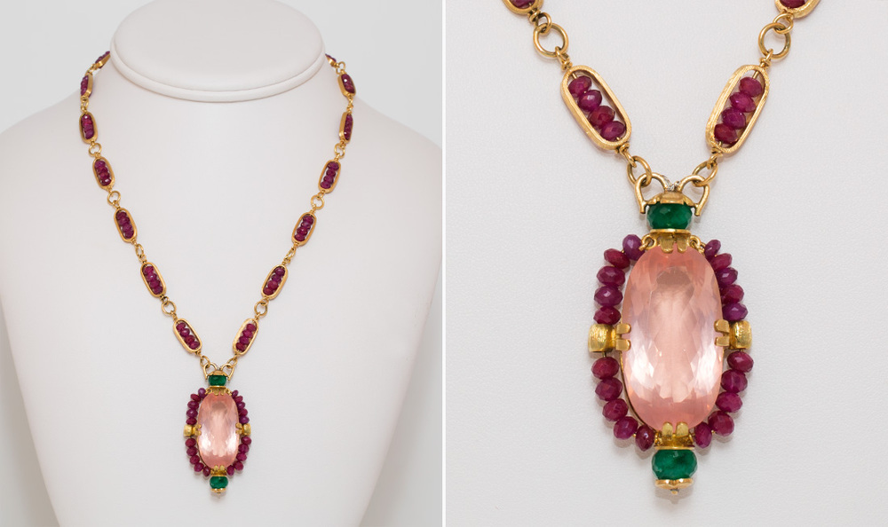 Rosequartz, Ruby & Emerald Pendant Necklace