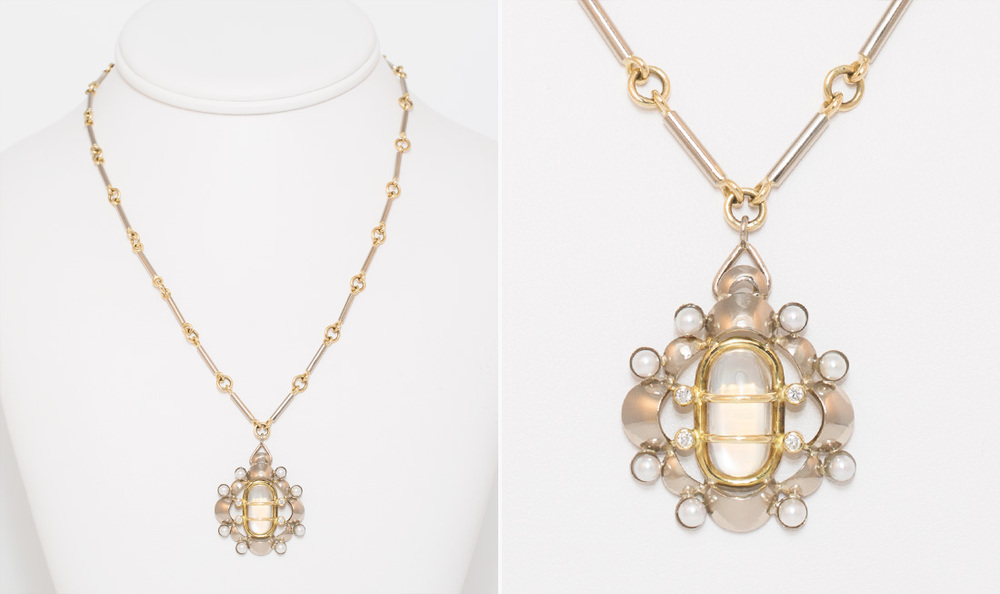 Moonstone, Diamond & Pearl Pendant Necklace