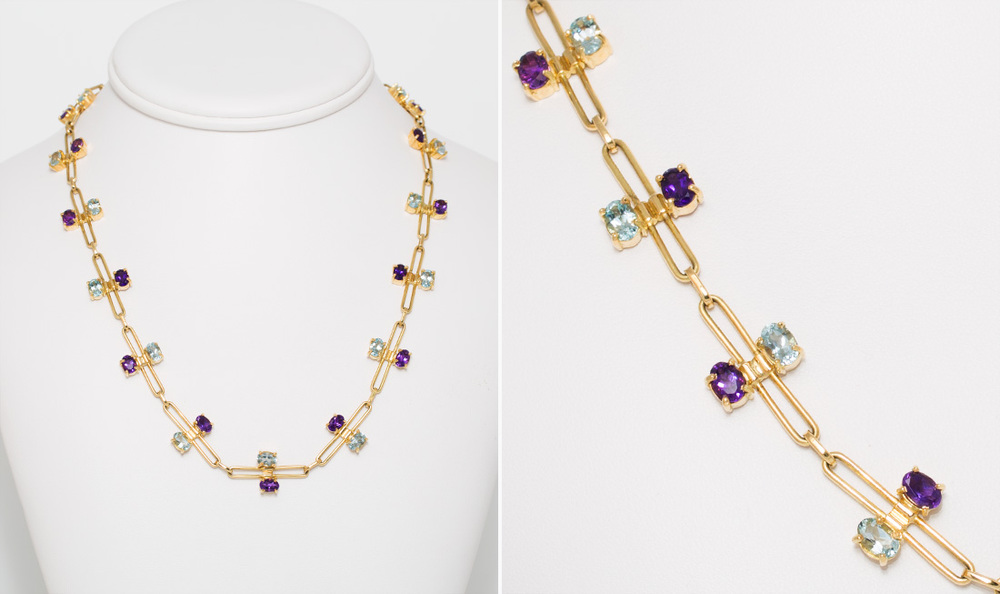 Aquamarine & Amethyst Necklace