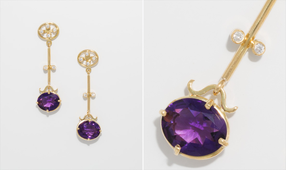 Gold, Amethyst & Diamond Drop Earrings