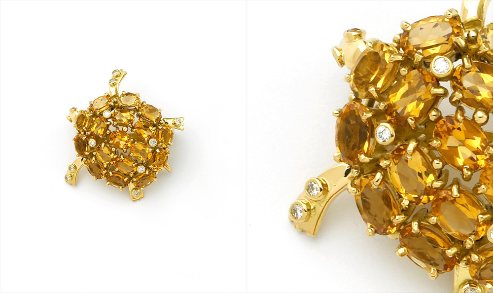 Citrine & Diamond Turtle Brooch