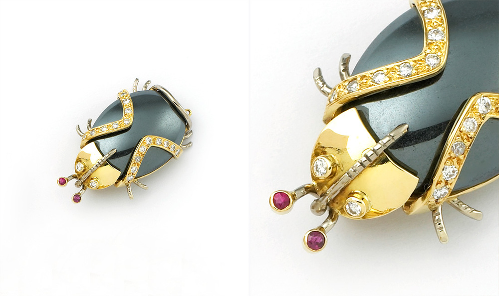 Hematite, Diamond & Ruby Beetle Brooch