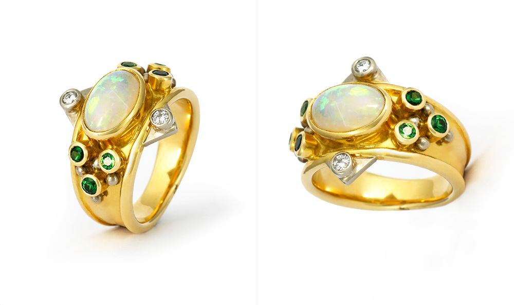 Opal, Diamonds & Tourmaline Ring
