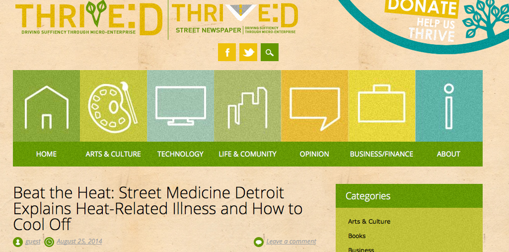 Beat the Heat: Street Medicine Detroit Explains Heat-Related Illness and How to Cool Off (Thrive:D Street Newspaper) -- Aug 25, 2014