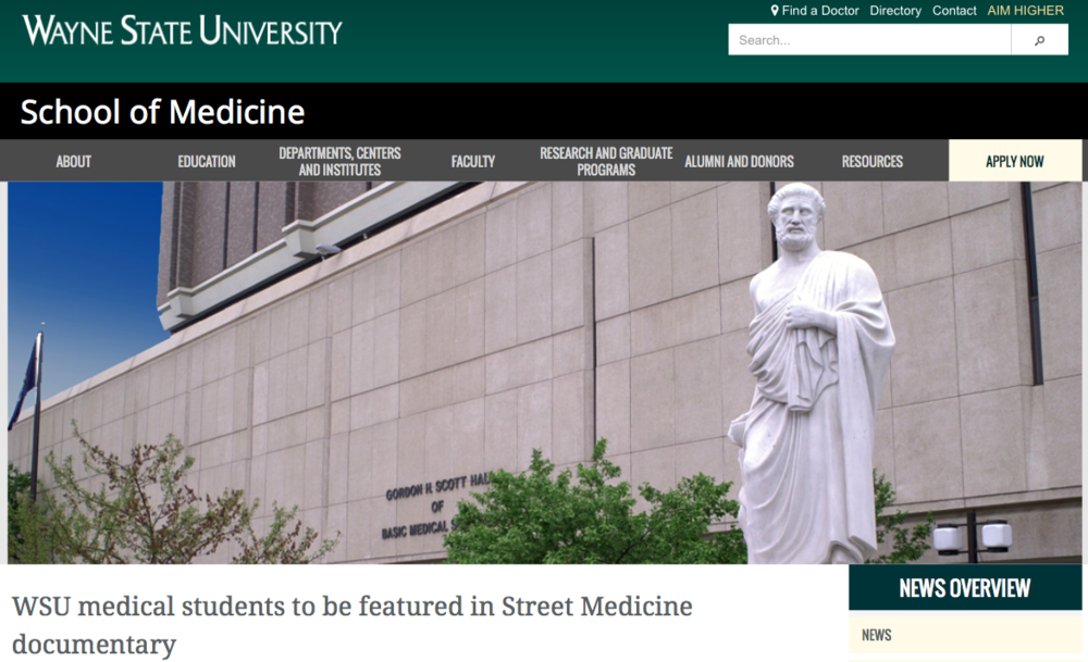 WSU medical students to be featured in Street Medicine documentary - Jan 2017
