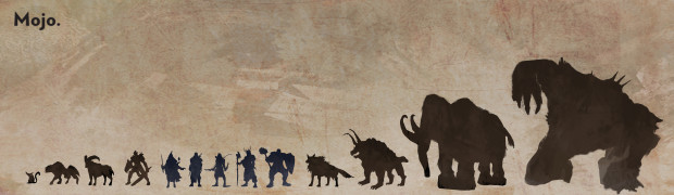 Size comparison of creatures relative to the five main playable classes.