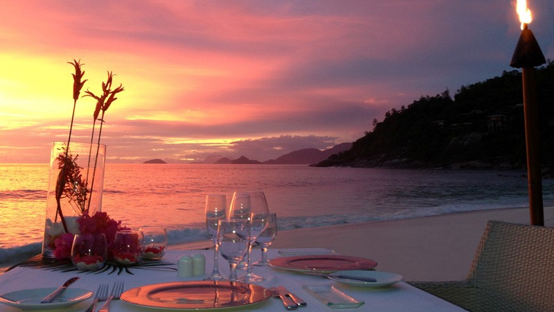 Romantic Sunset Dinner in the Seychelles