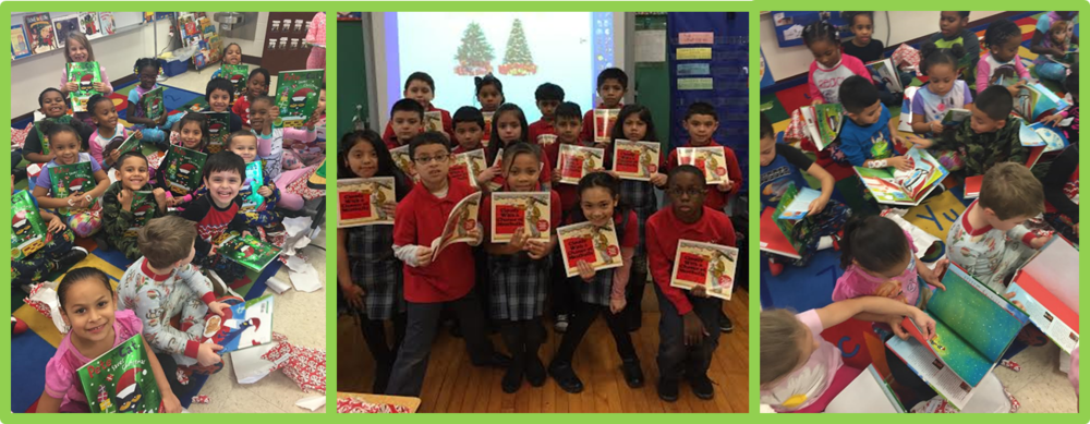 Students in second grade at BVM and kindergarten at Moos receive books during a Holiday Book Drive!