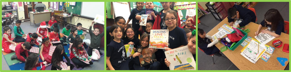 Students in kindergarten, first, and second grade at BVM in Chicago receive books and do related academic activities as part of this year's Holiday Book Drive!