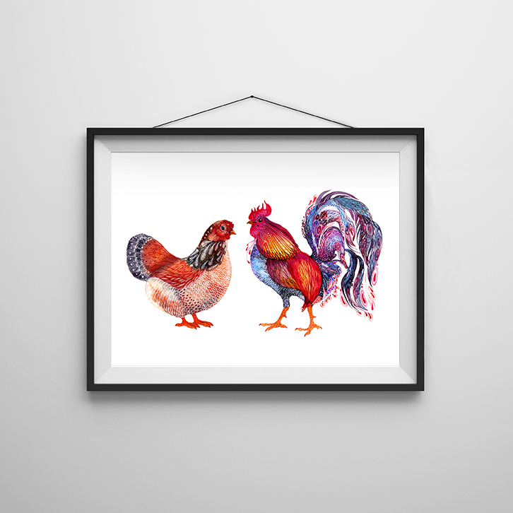 Hen and Rooster Art Print — Ola Liola