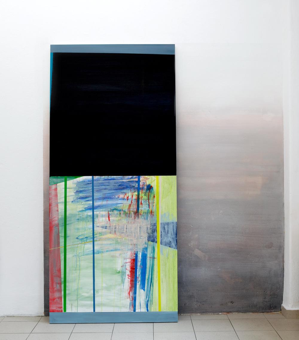 Tür  · 220 x 100 x 20 cm · Acryl, Pigment, Lack auf Holz