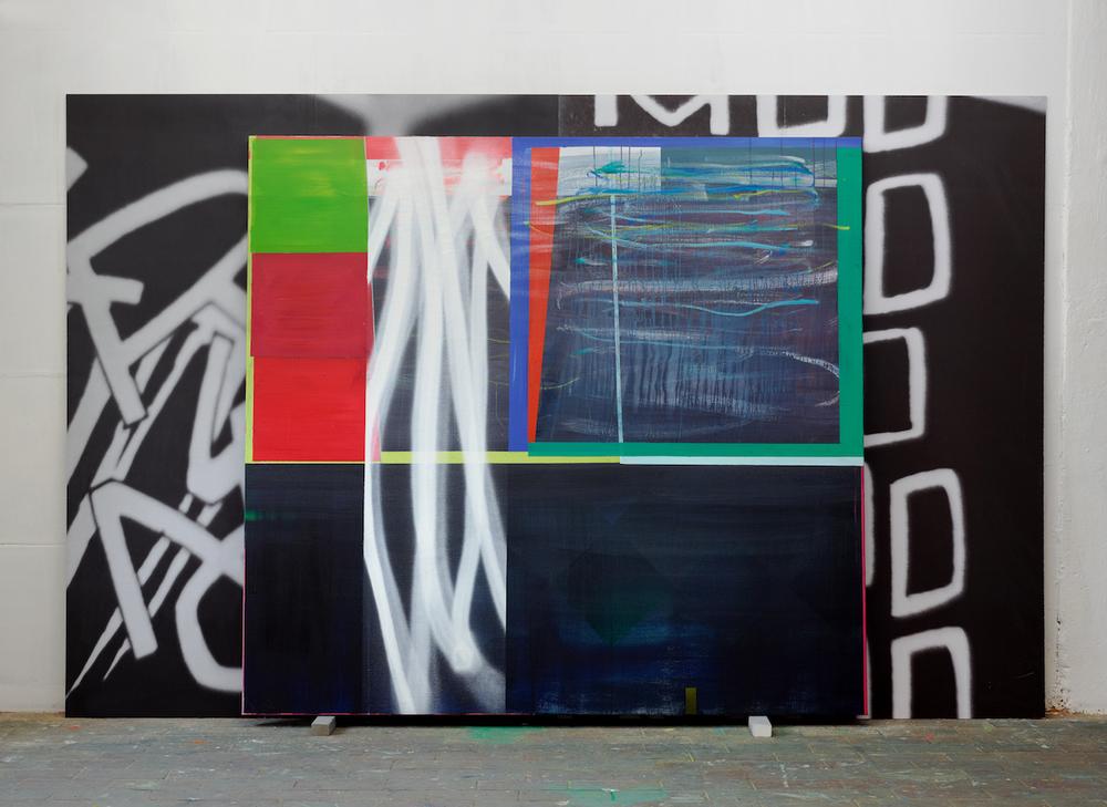 WHUD   · 220 x 360 x 15 cm · mehrteilig · Acryl, Pigment, Lack auf Leinwand und Digitalprint auf PVC, 2011