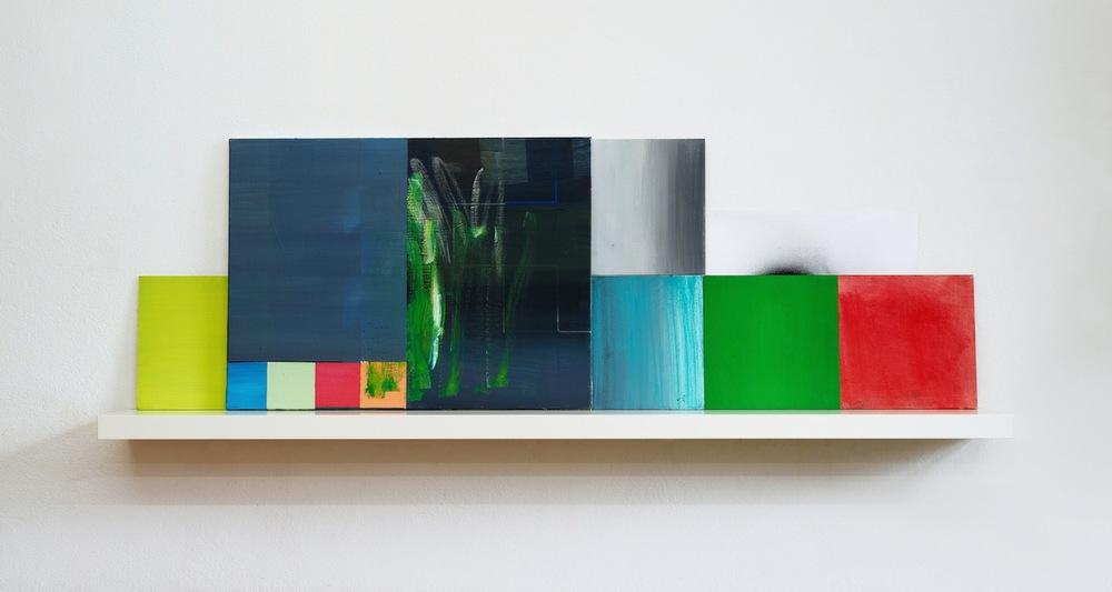 Sidewalk  · 60 x 190 x 20 cm · mehrteilig · Acryl, Pigment, Lack auf Holz, Papier, 2012