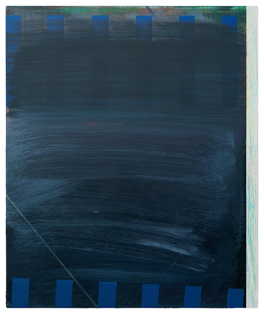 Haus und Zaun  · 60 x 50 cm · Acryl, Pigment, Lack auf Leinwand, 2014