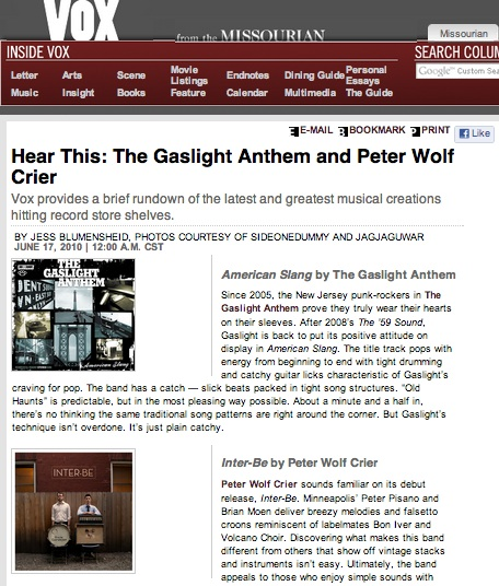 Hear This: The Gaslight Anthem and Peter Wolf Crier