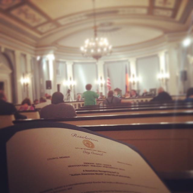 Representing @theautisminitiative at tonight's #Schenectady City Council meeting. Thanks for passing a resolution in support of #autism! 😃 #autismawareness #1in68 #schenectadydoesntsuck