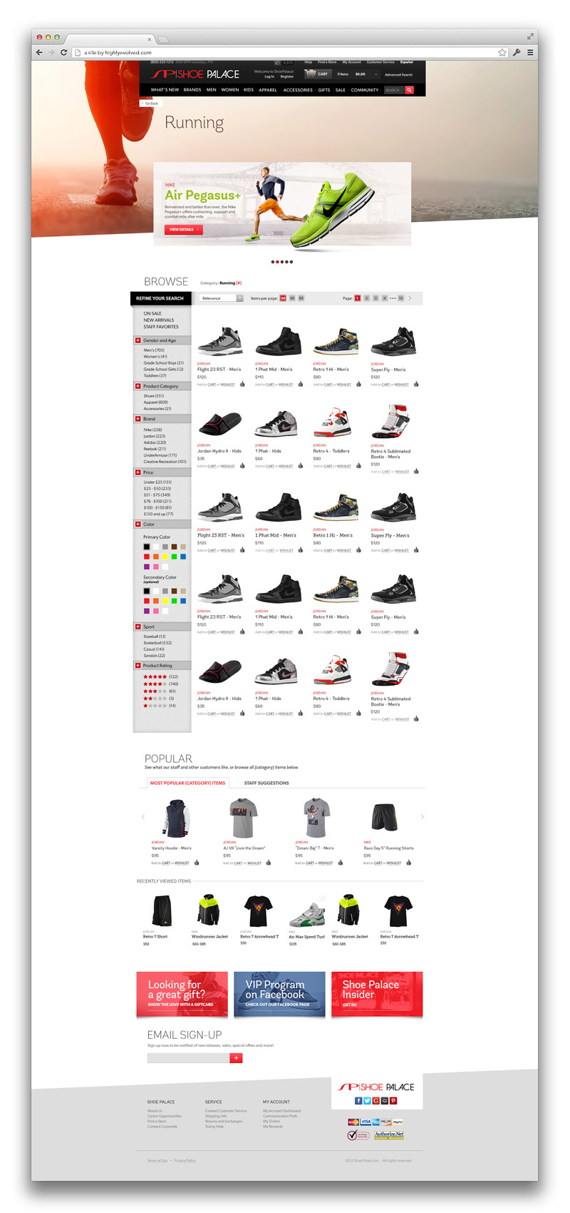 Shoe Palace Category Product Browser