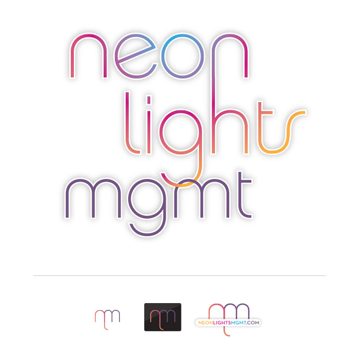 Neon Lights Management Primary Logo and Icon Set