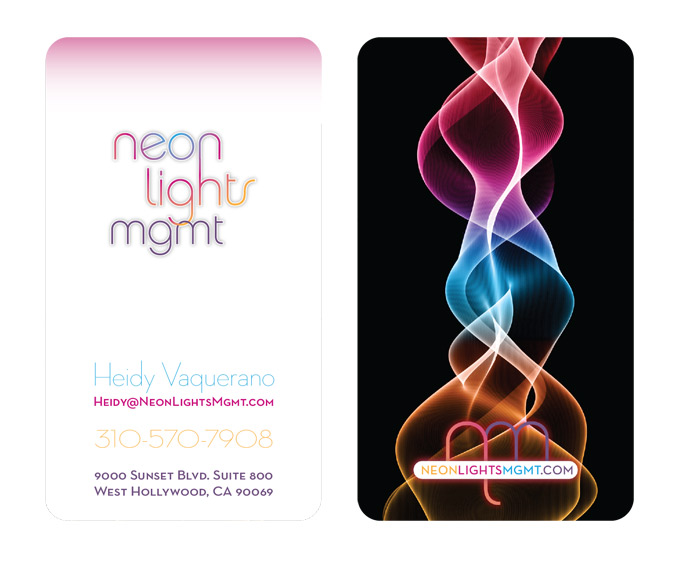 Neon Lights Management Business Cards - FRONT and BACK