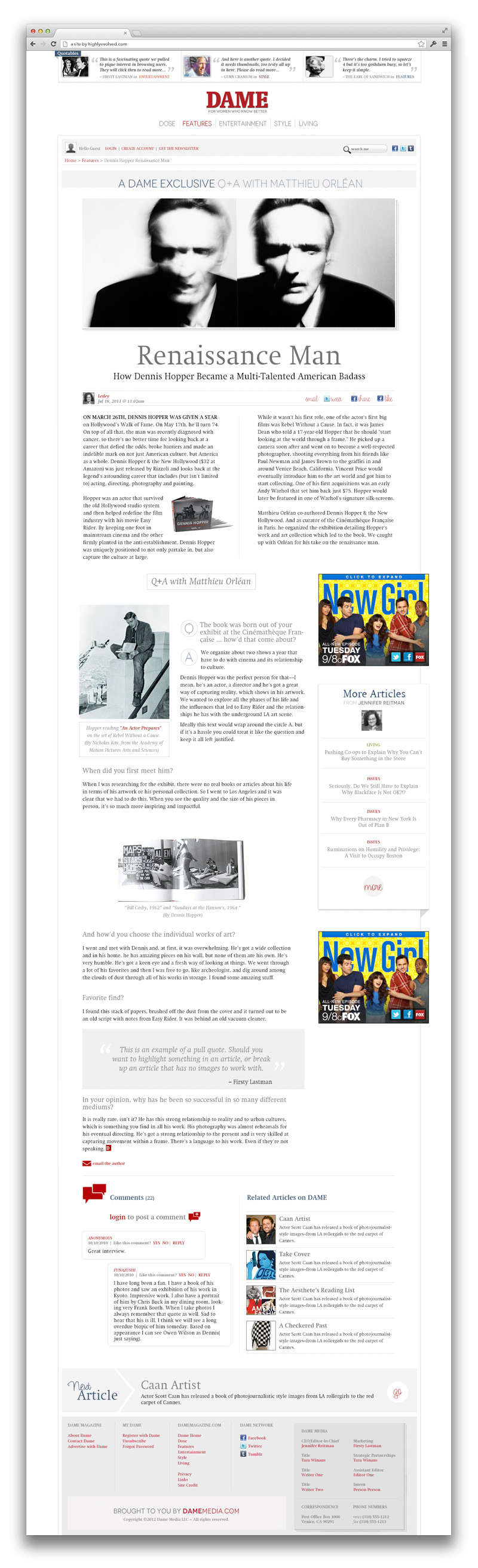 Dame Magazine - Featured Article Template