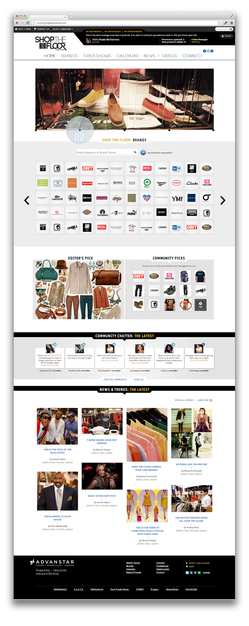 Final design for ShopTheFloor.com Homepage