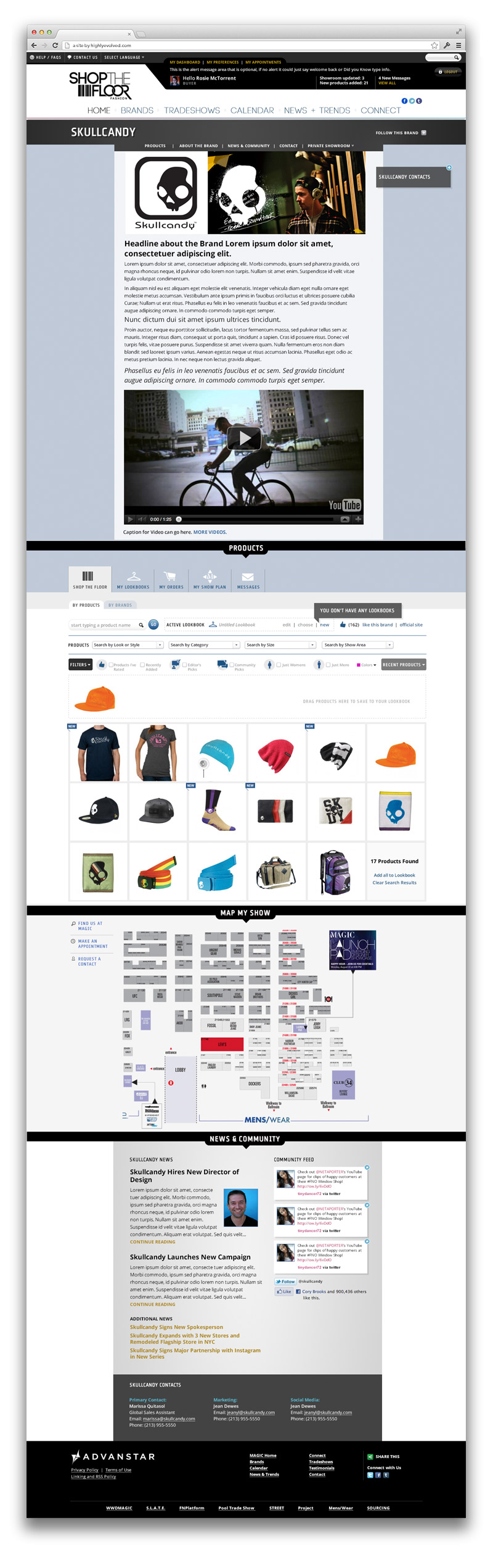 Sample brand page - each brand would have their own customizable showroom.