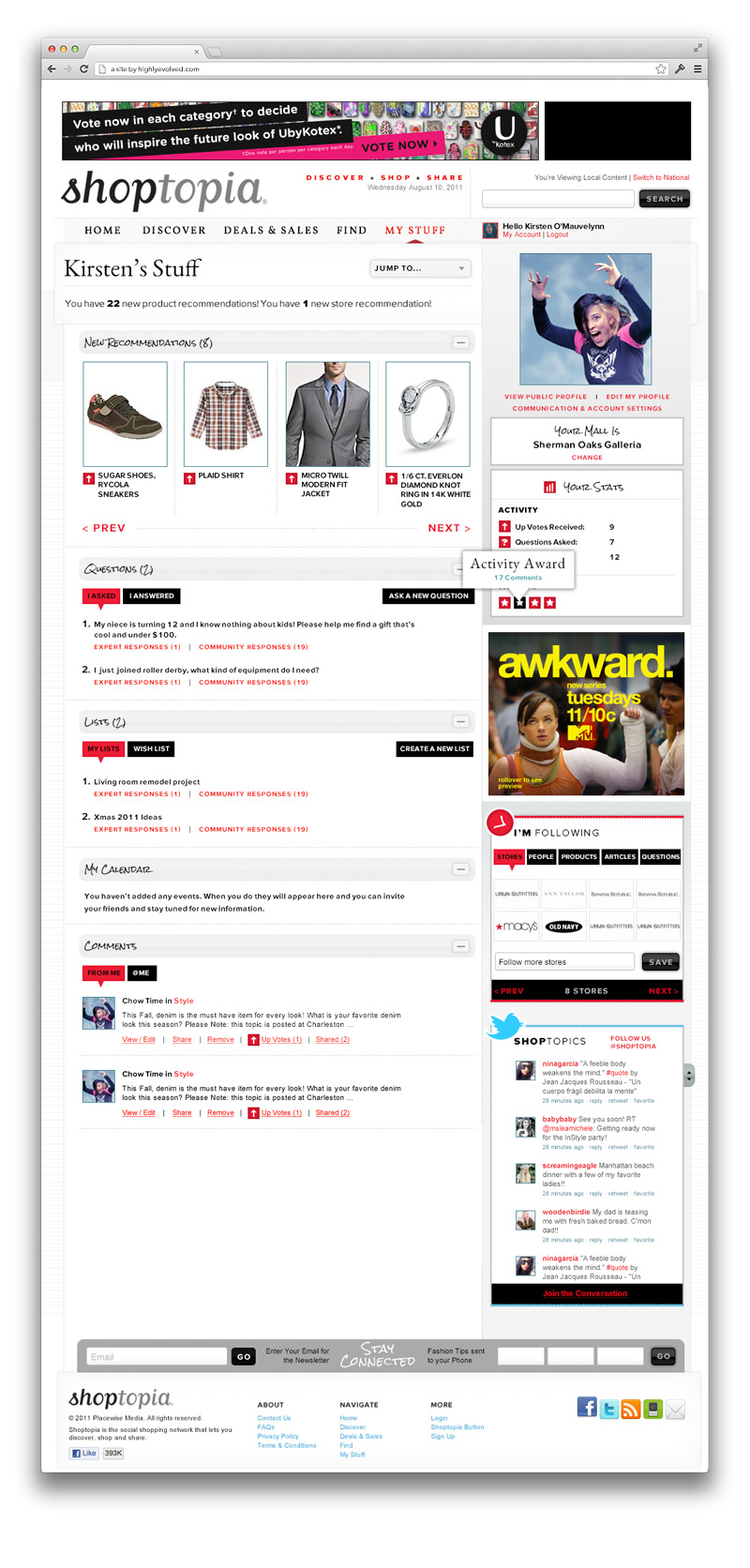 "Shoptopia ""My Stuff"" Page"