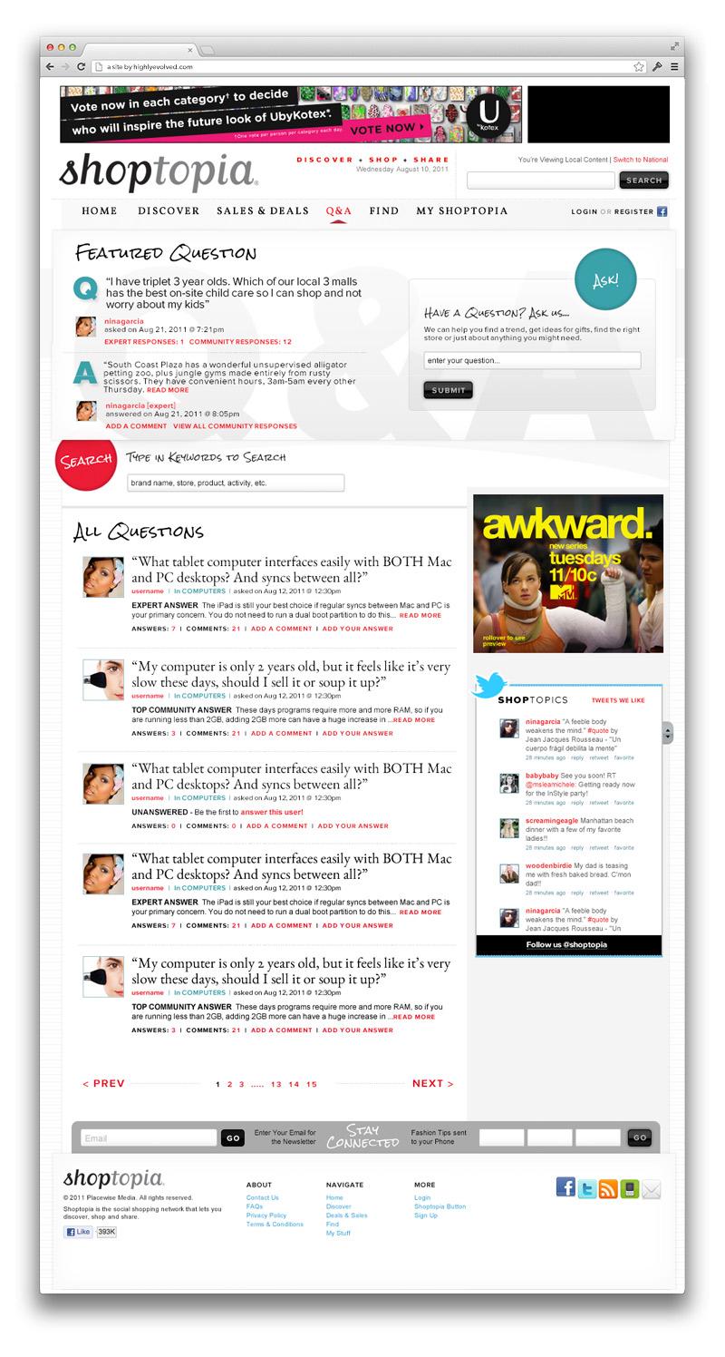 Shoptopia Q+A Page