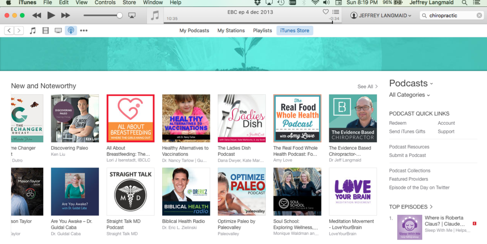 "The Evidence Based Chiropractor featured on iTunes ""New and Noteworthy"""