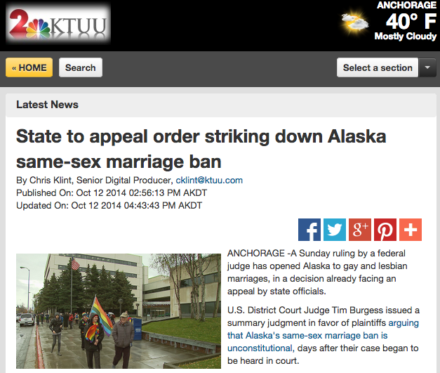Featured on KTUU.com - October 12, 2014