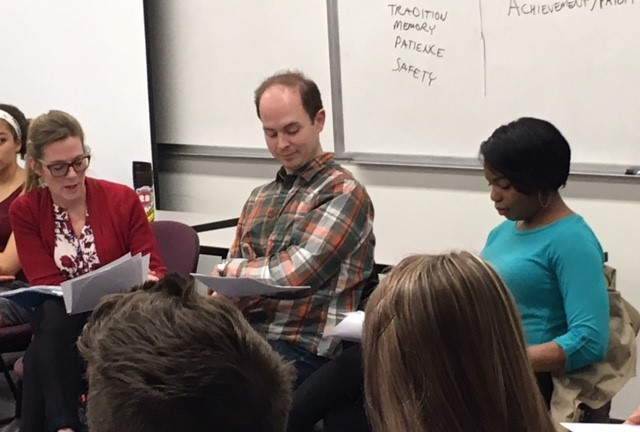 Michelle O'Neill (left), Stuart Gates and Kiara Jackson facilitating an  On Stage  discussion about  We are the Levinsons  at Hamline University (HSCI 1100: Intro to Public Health).