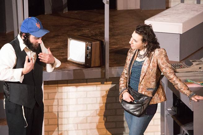 Avi Aharoni as Yossi and Miriam Schwartz as Natasha. Image courtesy Minnesota Jewish Theatre Company.