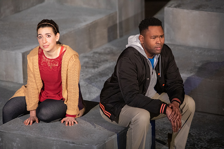 "Miriam Schwartz as Amber and JuCoby Johnson as Tom in the MJTC show ""Actually."" Photo by Sarah Whiting."