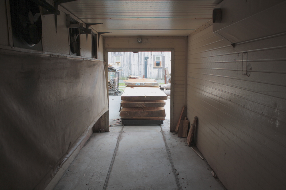 Looking out from inside Smith & Vallee's wood drying kiln in Edison, WA.