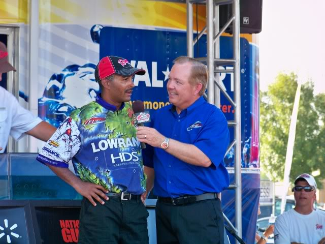 Ricky Shabazz, his first top ten finish, talking it over with Charlie, good job Ricky!