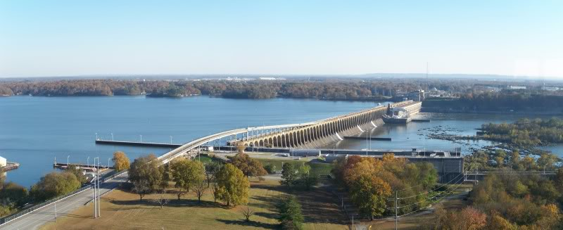 Looking down from the 360 to Wilson Dam