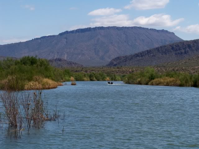 Rio Salado / Salt River enters the lake from the east