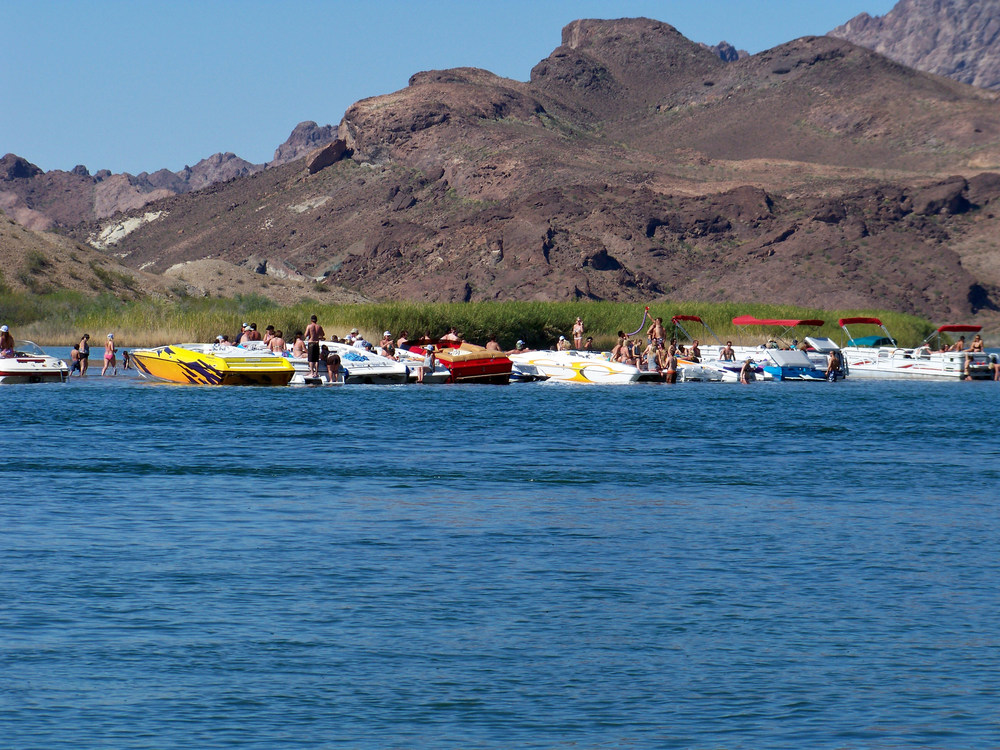 Sand Barr Island Colorado River (AKA) Party Island, can you see the beer bong? I took this photo 4 years ago and I just noticed!
