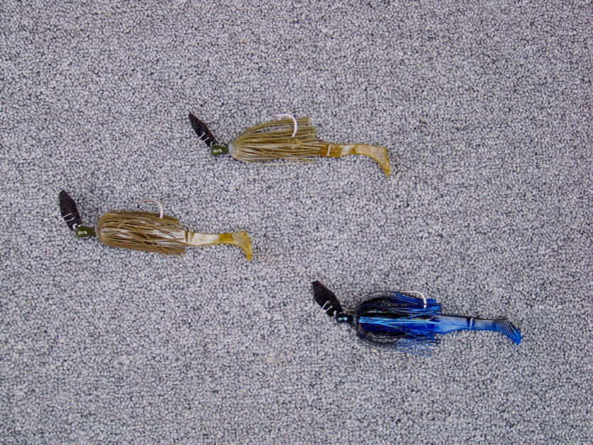 """Brett Hite's Lake Seminole tools of choice; based on depth of grass 3/8 oz. or 1/2 oz. Z Man green pumpkin Chatterbait Elite with 4.5"""" green pumpkin Gary Yamamoto Swimming Senko trailer. In early morning low light conditions a Z Man black blue Chatterbait with black blue Swimming Senko trailer."""