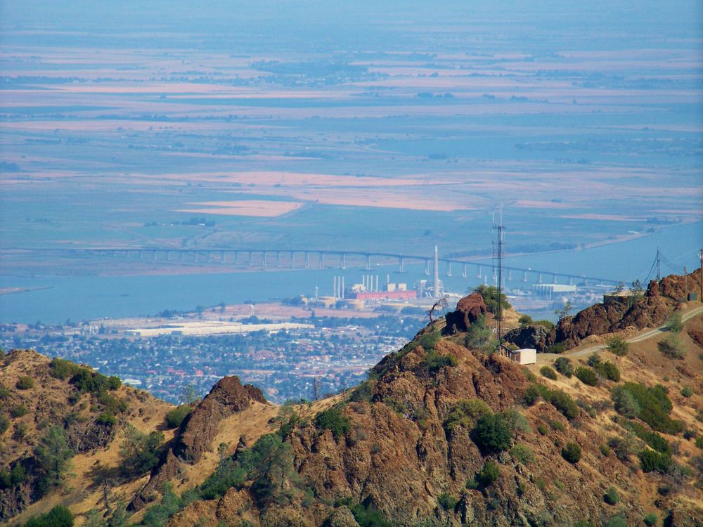 Antioch and the Highway 160 Bridge spanning the San Joaquin River as seen from atop the Delta landmark Mount Diablo