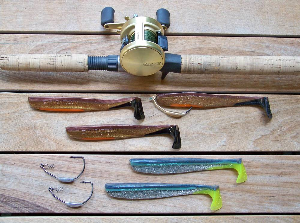 "New 7"" Big Hammer soft plastic swimbait, top Reckless Toast (Ben's design), bottom Blue Phantom, use your favorite keel weighted swimbait hook"