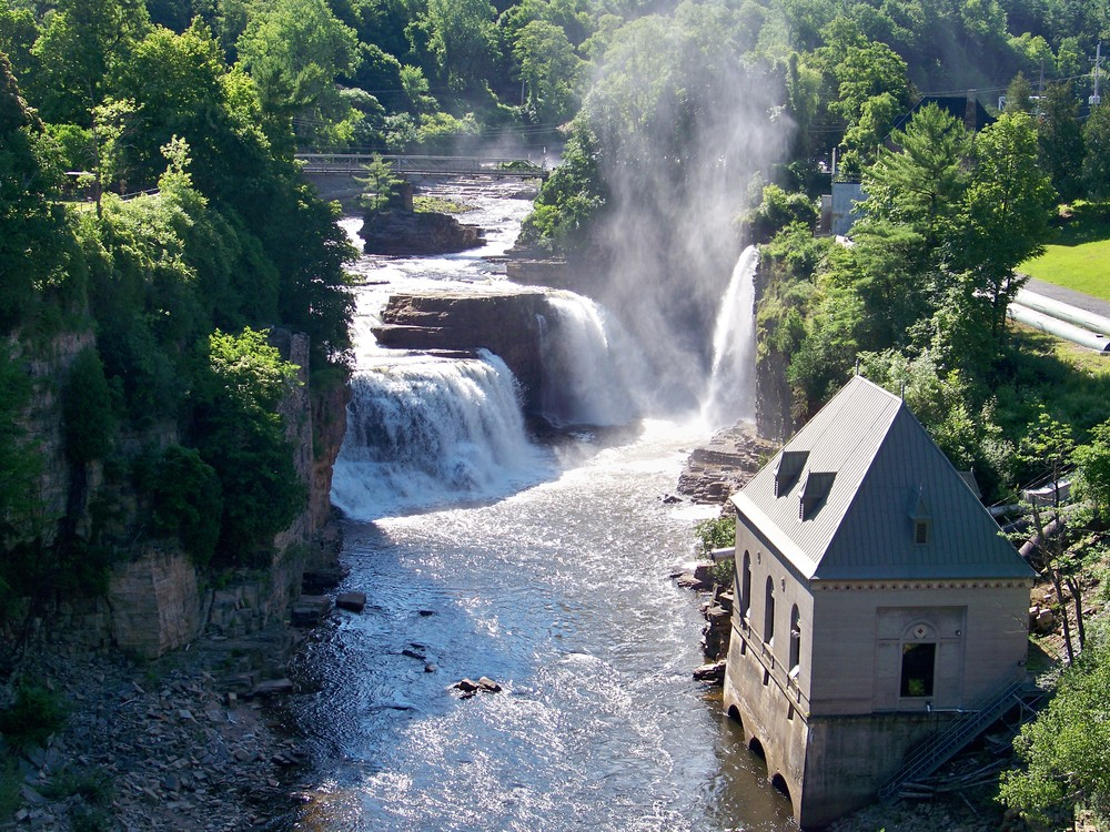 Ausable Chasm is a stone gorge in the Adirondack region of Upstate New York. The Ausable River passes through on its way to Lake Champlain.