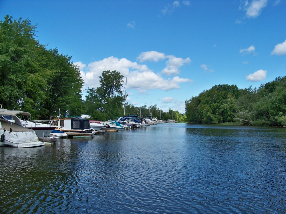 These docks on the Great Chazy River are just upstream before entering Lake Champlain.