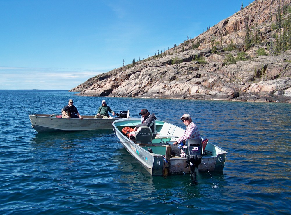 The 'Gang' converges at a narrow channel just before entering the main lake adjacent to Hogarth Island.