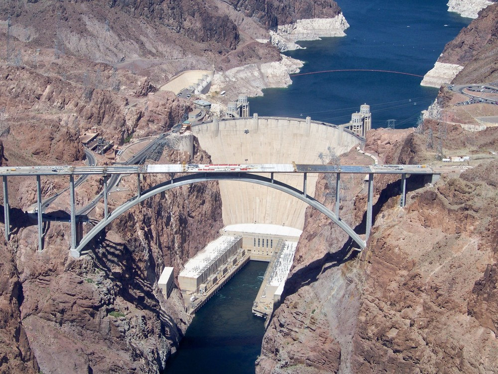 The Hoover Dam and bridge construction on route U.S. 93 spanning from Arizona on right to Nevada on the left.