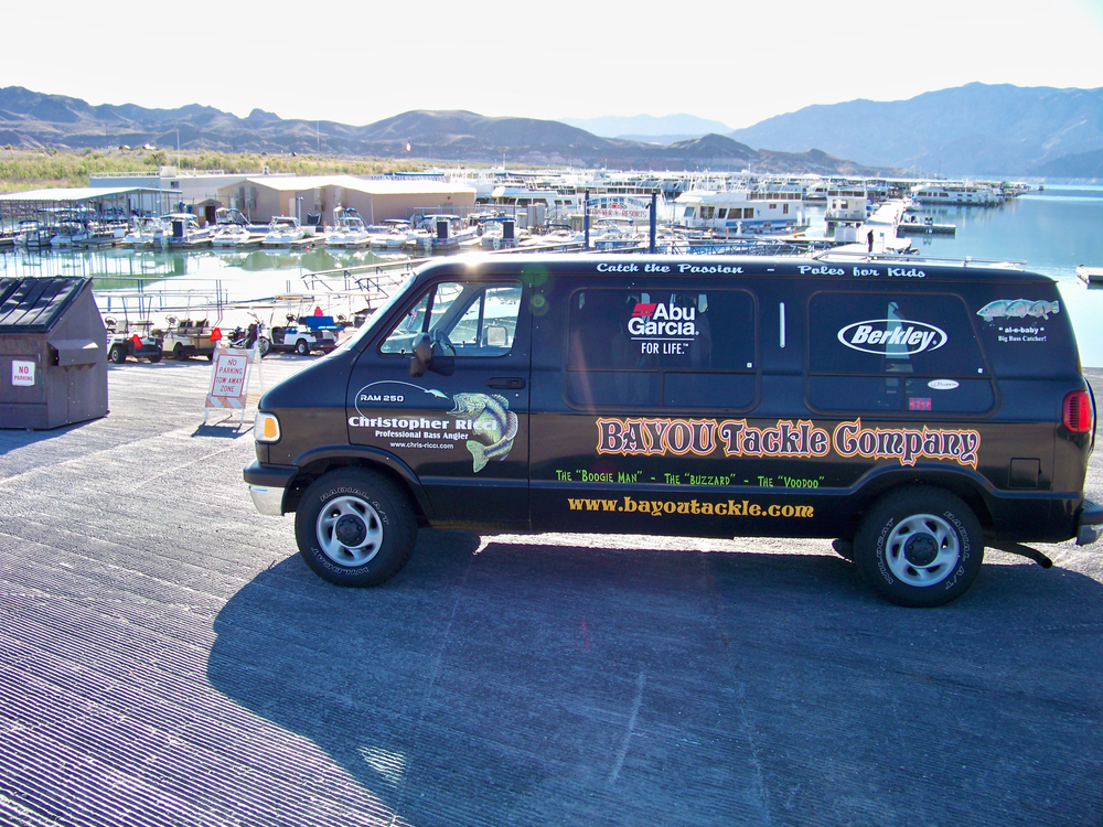 Chris, known for obeying parking signs, and his van on the launch ramp at Callville Bay Lake Mead
