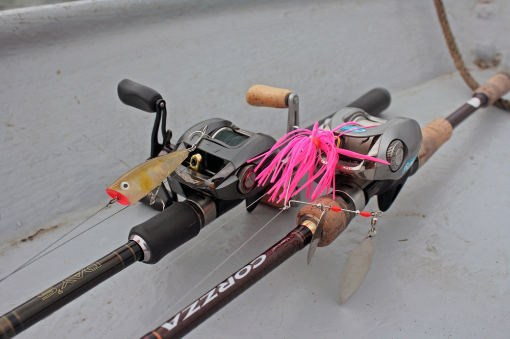Pic. 8. My heavy spinnerbaiting setup (7' Majorcraft Corzza CZC-702H paired with a 6.3:1 Team Daiwa TD-Z 105H casting reel and 14lb-test Sunline fluorocarbon line) sits next to my topwater setup.