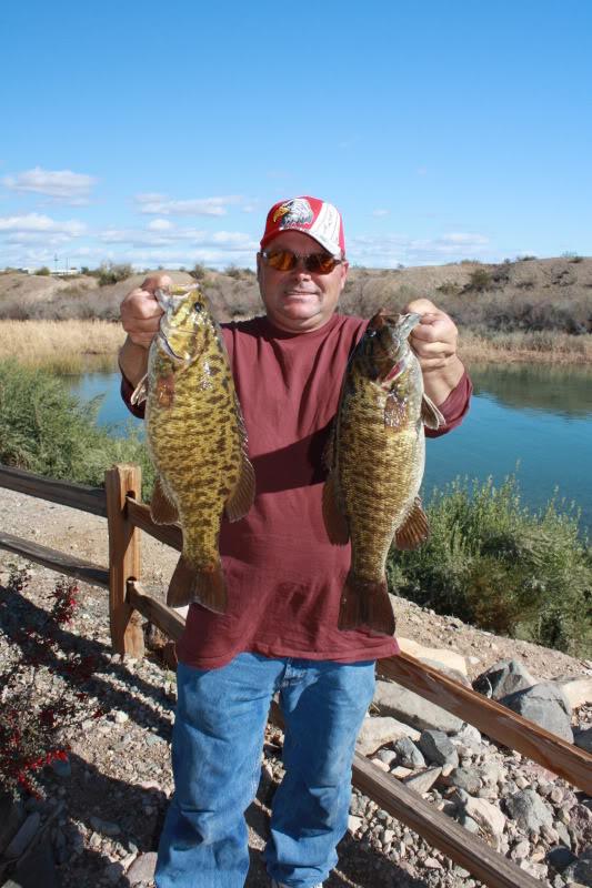Walt with two stout Lake Havasu smallmouth bass